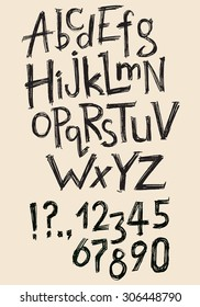 Vector hand drawn latin alphabet, numbers and punctuation marks