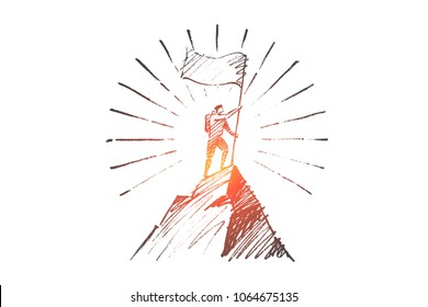Vector hand drawn Leadership concept sketch. Climber with flag conquering top of mountain.