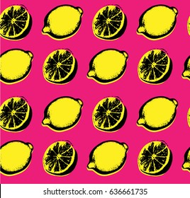 Vector hand drawn lemon seamless pattern. Sketch. Pop art. Perfect for wall art, kitchen art, print, posters. Hand sketched fruits illustration collecton. Vector design.