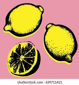 Vector hand drawn lemon. Tropical fruit. Sketch. Pop art. Perfect for invitations, greeting cards, posters.