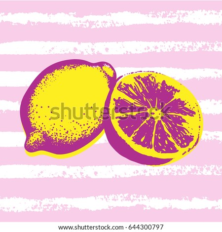 Vector Hand Drawn Lemons Striped Background Stock Vector Royalty