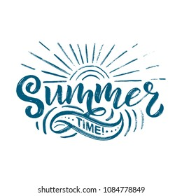 Vector hand drawn lettering about Summer. Isolated calligraphy for travel agency, beach party. Great design for postcard, t-shirt or poster.
