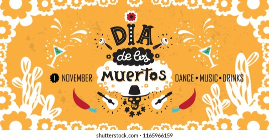 Vector hand drawn lettering Dia de los Muertos, Day of the Dead poster design. Day of the dead vector illustration set. Skull in sombrero, flowers, guitars, maracas