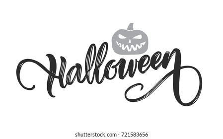 Vector Hand drawn lettering of  Halloween with pumpkin on white background