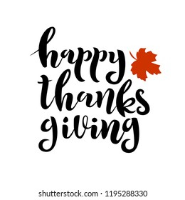 Vector hand drawn lettering isolated on white background. Happy thanksgiving day card.