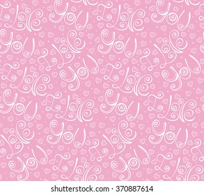 Vector hand drawn lettering I Love You in pink Valentine Day seamless pattern, romantic background