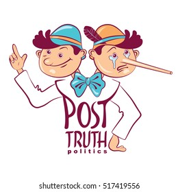 Vector hand drawn lettering of Post-truth politics. Cartoon illustration of the dual figure of truth-seekers and liar Pinocchio with a long nose