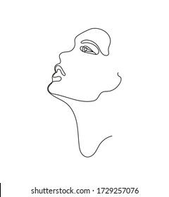Vector hand drawn linear art, woman face, continuous line, fashion concept, feminine beauty minimalist. Print, illustration for t-shirt, design, logo for cosmetics, etc.