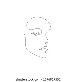 Vector hand drawn linear art, woman face, continuous line, fashion concept, feminine beauty minimalist. Print, illustration for t-shirt, design, logo for cosmetics, etc.