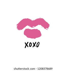 Vector hand drawn lips symbol, logo element template. Simple minimal lines style. Pink color makeup, brush strokes. Hugs and kisses handwritten text. Good for postard, poster, greeting card
