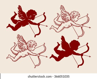 vector hand drawn little angel sketch and amur, cupid doodle