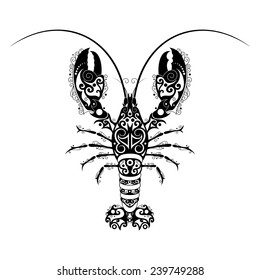 Vector Hand Drawn Lobster. Patterned Design