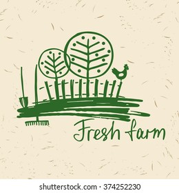 Vector hand drawn logo fresh farm. Lettering logo agriculture and farm. Sketch of rural landscape with a rooster, fence, trees, gardening tools.