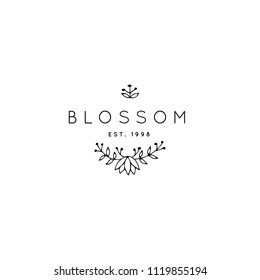 Vector hand drawn logo template in elegant and minimal style Branch with flower, leaves and berries with a text sample. Feminine romantic floral clipart. For business branding and identity.