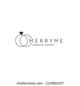 Vector hand drawn logo template in elegant and minimal style. Wedding rings with a text sample. Feminine element, romantic clipart. For wedding planner, business branding identity. Black on white.