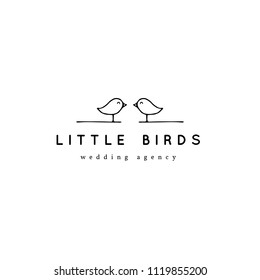 Vector hand drawn logo template in elegant and minimal style. Two birds with a text sample. For badges, labels, logotypes and branding business identity. Feminine black on white isolated symbol.