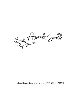 Vector hand drawn logo template in elegant and minimal style Branch with leaves and berries with a text sample. Feminine romantic floral clipart. For business branding and identity.