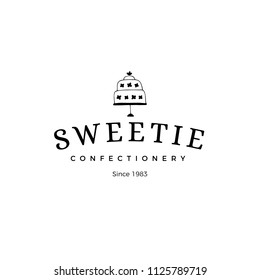 Vector hand drawn logo template in elegant and minimal style. Cake silhouette with a text sample. For badges, labels, logotypes, bakery, home baking business branding and identity.