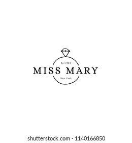 Vector hand drawn logo template in elegant and minimal style. Wedding diamond ring with a text. Feminine element, romantic clipart. For wedding planner, business branding identity. Black on white.