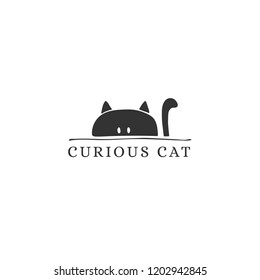 Vector hand drawn logo template for pets related business. Head of a happy cat. Illustration for pet groomer, shop or cat cafe, hotel or a veterinary clinic. Domestic animals. Isolated symbol.