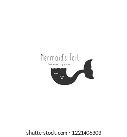 Vector hand drawn logo template, mermaid's tail. For badges, labels, logotypes and branding business identity. Perfect for sea and ocean related company, for tourism or souvenirs.