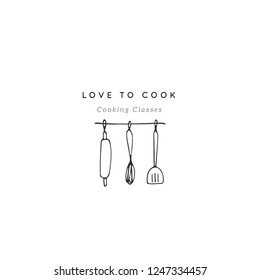 Vector hand drawn logo template, kitchenware. Kitchen and food theme. Rolling pin, spatula, whick. Isolated symbol for business branding and identity, for food blogs and websites, for cooking classes
