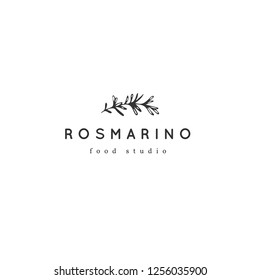 Vector hand drawn logo template, a sprig of rosemary. Isolated symbol for business branding and identity, for food blogs and websites, for cooking classes. Kitchen and food theme.