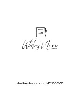 Vector hand drawn logo template with a written paper. Publishing, writing and copywrite theme. For business branding and identity, for writers, copywriters and publishers, for journalists, bloggers.