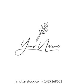 Vector hand drawn logo template with a flourishing pen icon. Copywriting, writing and publishing theme. For business identity and branding, for writers, copywriters and publishers, bloggers.