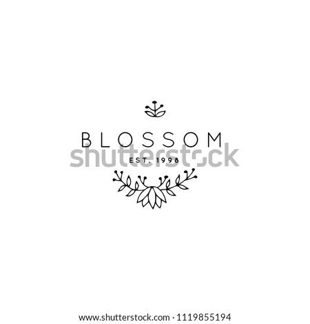 vector hand drawn logo template elegant のベクター画像素材