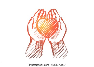 Vector hand drawn love concept sketch. Heart in caring human palms.