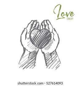 Vector hand drawn love concept sketch. Heart in caring human palms. Lettering Love concept