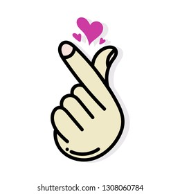 vector hand drawn of love hand gesture