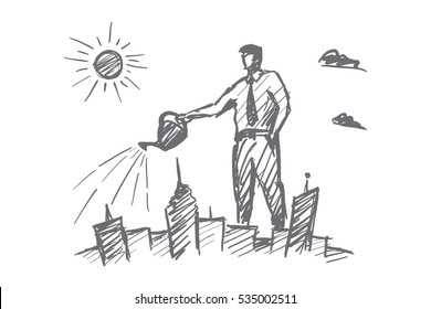 Vector hand drawn I love my city concept sketch with businessman standing and watering city from above with can