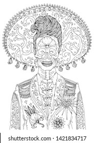 Day Dead Skull Coloring Pages Stock Illustrations, Images ...