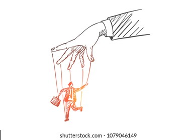 Vector hand drawn manipulation concept sketch with human hand playing businessman figure with threads as puppet