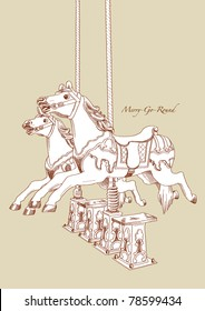 Vector Hand Drawn Merry-Go-Round Horse