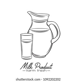 Vector hand drawn milk jug and glass. Illustration of breakfast concept for food design, milk product packaging. Retro style.