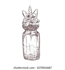 Vector hand drawn milkshake Illustration decorated with unicorn elements. Sketch vintage engraving style. Design template.