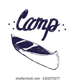 vector hand drawn minimal illustration with sketchy canoe augmented with Camp sign. travel and canoeing themes.