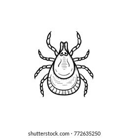 Vector hand drawn mite outline doodle icon. Mite sketch illustration for print, web, mobile and infographics isolated on white background.