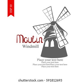 vector hand drawn moulin logo windmill cabaret stock vector royalty