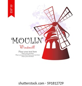 Vector Hand Drawn Moulin logo.Windmill of cabaret. Template for print, t-shirt, greeting card, poster.Hand drawn Illustration.