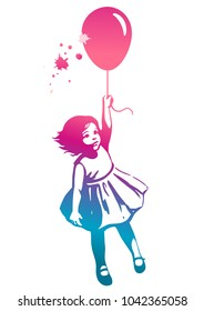 Vector hand drawn multicolor rainbow silhouette illustration of a cute little toddler girl in a summer dress floating in mid air, holding a pink red balloon. Street art stencil style design element