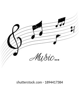 Vector hand drawn music notes background