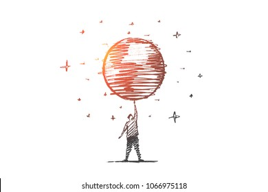 Vector hand drawn My planet concept sketch. Big globe spinning on mans raised hand, stars at background.