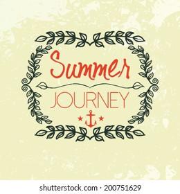 Vector hand drawn nature background, summer journey
