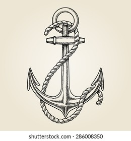 Vector hand drawn nautical anchor. Element ship, travel and drawing vintage, rope marine
