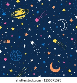Vector hand drawn night sky doodle seamless pattern with space stars, planets, comets.