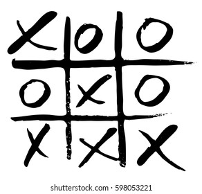 vector hand drawn noughts and crosses, tic-tac-toe competition, grungy brush illustration